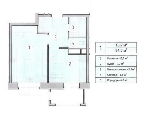 1-комнатная квартира в ЖК Видный город